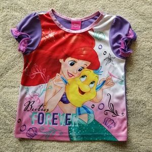 Girl's Disney Ariel Little Mermaid PJ Top, Sz 4T